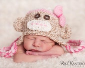 READY Baby Girl Hat -  Baby Halloween Hat - Baby Hat -  Baby Monkey Hat  with Earflaps & Ties and Knitted Bow Tie clip -