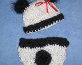Baby Hat - Adorable Newborn Baby Panda Bear Hat Cap & Diaper Cover - Fuzzy Ears and Tail with Red Ribbon