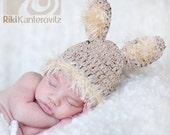 Natural Tones Newborn Baby Bunny Hat with Fluffy Ears & Trim - Easter Hat