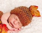 Perfect for Fall Newborn Baby Textured Hat with Stem and Leaf - Amazing Colors