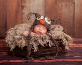 READY Baby Boy Hat  - Baby Owl Hat -  Baby Hat - Great Details Soft Mohair Blend Yarn with Button Eyes
