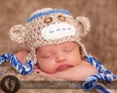 READY TO SHIP Newborn Baby Blue Monkey Hat Cap with Earflaps & Ties and Knitted Bow Tie clip - Great Details Blue