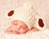READY TO SHIP Baby Lamb Hat - Baby Boy Hat - Baby Gril Hat Textured Cream Cap with Chocolate Brown Ears and Polka Dot Ribbon