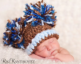 """SALE & READY  Baby Boy Hat - Baby Hat - Baby Boy Pom Pom Hat Cap Brown and Baby Blue with Big """"Puffs"""""""