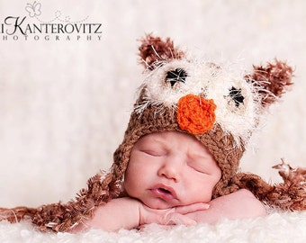 READY Baby Hat - Baby Halloween Hat -  Baby Owl Hat - Baby Boy Hat  with Fuzzy Eyes, Earflaps & Ties - Great Texture and Details