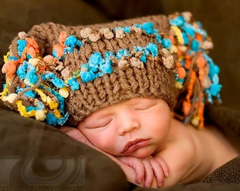 READY Baby Hat -  Baby Boy Hat - Knitted Baby Hat -Cafe Brown with Fancy Accents & Tassels in Turqoise, Orange and Yellow