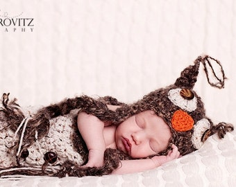 Baby Boy Hat -  Baby Cocoon & Baby Owl Hat - Halloween Hat  Great Details and Textured Mohair Blend Yarn and Button Eyes - Great Photo Prop