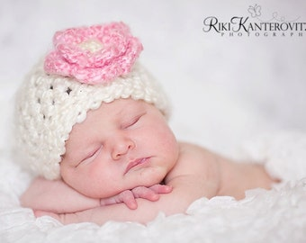 READY Gorgeous Baby Girl Hat - Baby Hat  - Cream with Pink Flower - Very Soft - Sizes 0-12 months