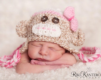 Baby Girl Hat - Baby Hat  Newborn Baby Monkey Hat  with Earflaps & Ties and Knitted Bow Tie clip - Great Details
