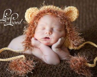 READY Baby Boy Hat -  Lion Hat  - Bay Hat with Earflaps & Ties and a Fun Textured Mane