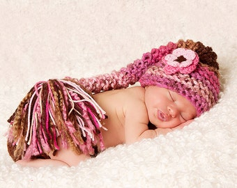 Baby Hat- Baby Girl Hat - Soft and Chuncky Baby Stocking Hat  - Shades of Pinks and Browns with Flower Clip and Big Tassel