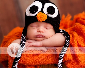 Fun Baby Penguin Hat -  Baby Boy Hat - Baby Girl Hat -  with Earflaps & Ties Size 0-9 Months
