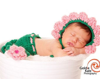 Baby Hat - Baby Girl Hat - Baby Flower Hat or Hat & Diaper Cover Earflaps and Ties and Vine Tail with Flower Clip