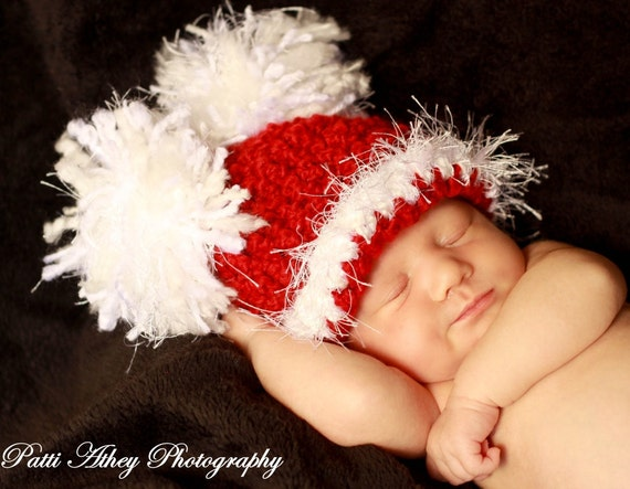 """Adorable Christmas Holiday Santa Baby Hat Cap with Big """"Puffs"""" & Fuzzy Trim"""