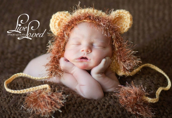 Take a Walk on the Wild Side wtih this Baby Lion Hat Cap Earflaps & Ties and a Fun Textured Mane