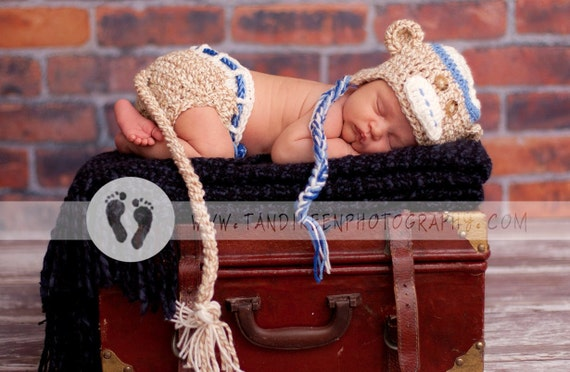 Newborn Baby Hat & Diaper Cover  Earflaps. Ties, Tail and Knitted Bow Tie clip BLUE or PINK accents