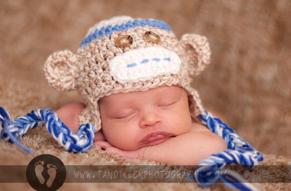 Newborn Baby Monkey Hat Cap with Earflaps & Ties and Knitted Bow Tie clip - Great Details BLUE or PINK