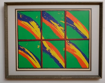 "Pop Art Lithograph Signed in Pencil "" MANY RAINBOWS"" Brenda Harper"