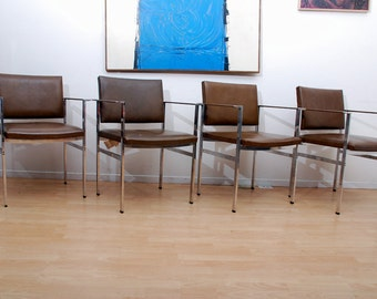 Ward Bennett Set Of Four Arm Chairs, Aluminum Leather Mid Century Designer