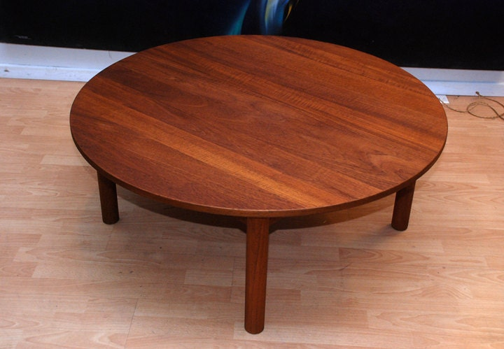 Danish Modern Teak Round Coffee Table Wegner Eames Era