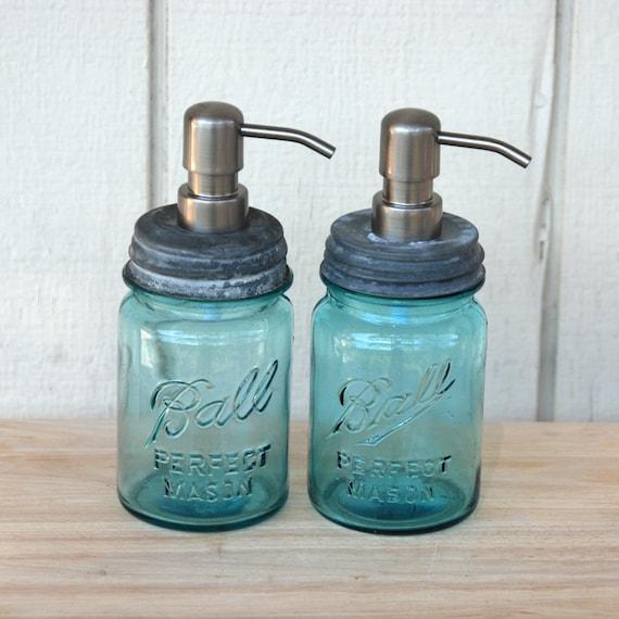 Set of 2 - Pint Ball Mason Jar Soap Pump Dispensers
