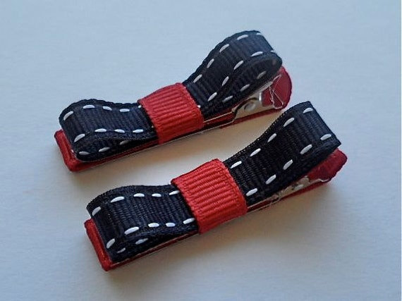 Discount - Set of Two (2) 4th of July Red, White, & Navy Blue Mini Tuxedo Hair Bow Clips - Ready2Ship