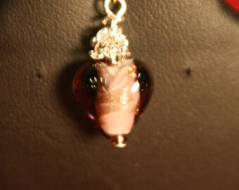 purple heart zipper pull or cell charm.