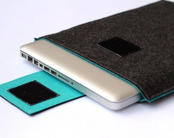 "15"" inch Apple Macbook Pro Sleeve, 15"" laptop Case, MacBook pro Cover - Dark Gray & Turquoise - Weird.Old.Snail"