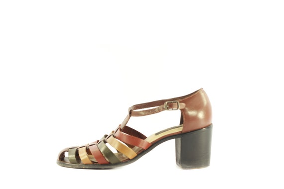 Westies Chunky Heel Huarache Style Multicolored Ankle Strap Heels in Womens 8