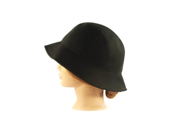 1960s Wide Brim Italian Wool Cloche Hat