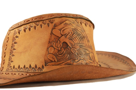 Handmade Tooled Leather Cowboy/Hispanic Eagle Hat Size 7