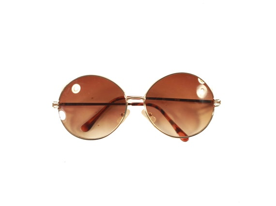 Round Amber Tint Metal Frame Sunglasses