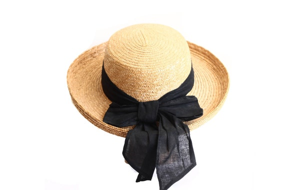 Beachy Straw Boater Hat with Black Cotton Bow