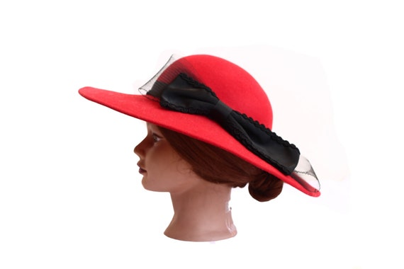 Red Wide Brim Wool Hat with Black Side Bow