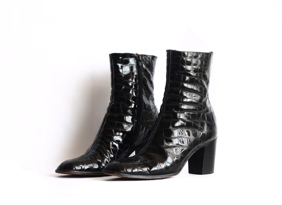 RESERVED // Patent Leather CHARLES DAVID Croc Skin Design Boots in Womens 7.5