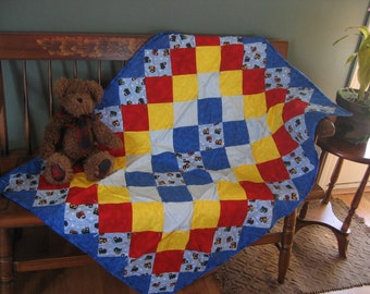 Baby Train Flannel Quilt