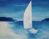 Oil painting - Blue Sailboat by Yana Hamlett - Wooden board Artist Panel palette knife Sailboat painting blue seascape painting rusteam