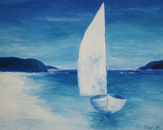 Oil painting - Blue Sailboat by Yana Hamlett - Wooden board Artist Panel palette knife Sailboat painting blue seascape painting rusteam