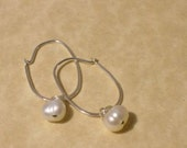 Petite Silver Hoop- Pearl Drop Earrings-Pearl Earrings, Sterling Silver Earrings Silver Wedding Earrings Bride Pearl Wedding Earring Classic