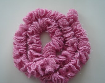Long Pink Crochet Scarf