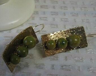 Pea Green Vintage Bakelite Swoop Earrings