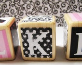 Decorative Baby Blocks  Shower and Nursery Decor  Pink Black Personalized Initials- You choose 3