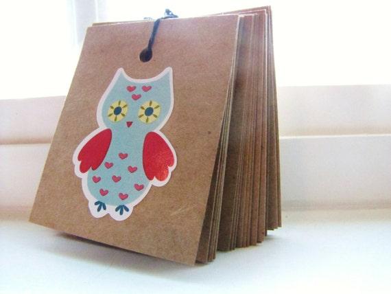 OWL TAGS -Set of 13 Kraft Paper Gift tag set Woodland Stationary