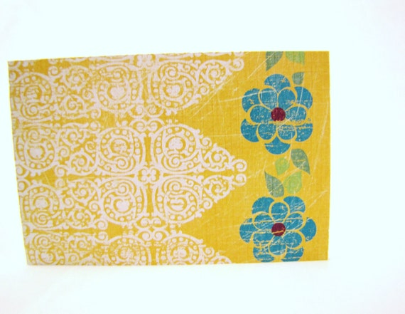 Note card set Mustard Yellow. Turquoise. Boho Indian print Bright & Fun Stationary Set for Birthday Thank you's and greetings