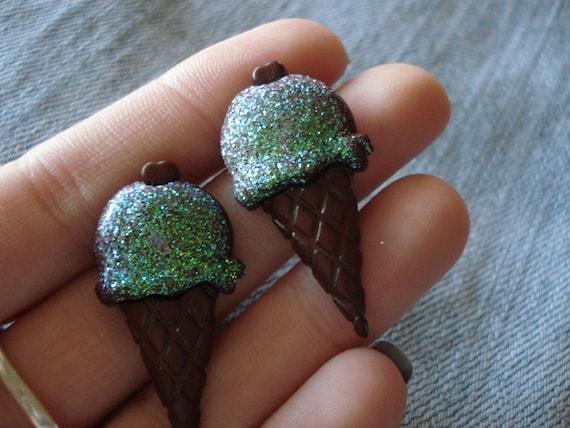 Purple Ice Cream Cone Earrings