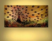ORIGINAL ACRYLIC Wildlife Peacock Bird  Painting Large 24X48 Handmade Animal Art  By Thomas John