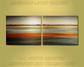 Original Painting 2 Panel 24x60  Landscape ready to hang Abstract Art By Thomas John