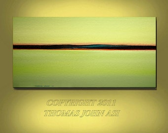 ORIGINAL PAINTING Abstract Modern Ocean Seascape Large 24X48 Gallery Wrap Canvas Fine Art  By Thomas John