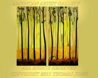 Original Painting Modern Abstract Large 2 Canvas 48x48 Landscape Tree Art  By Thomas John
