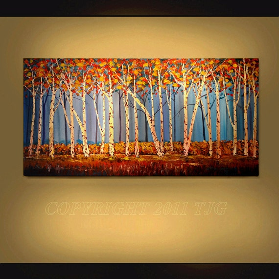 ORIGINAL PAINTING Abstract Landscape Aspen Trees Large 24X48 Gallery Wrap Canvas  By Thomas John